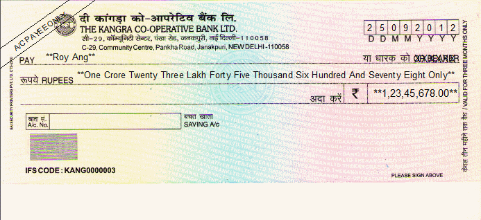 Printed Cheque of The Kangra Co-operative Bank India (Saving A/C)