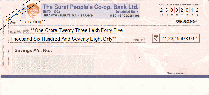 Printed Cheque of The Surat People's Co-op. Bank India