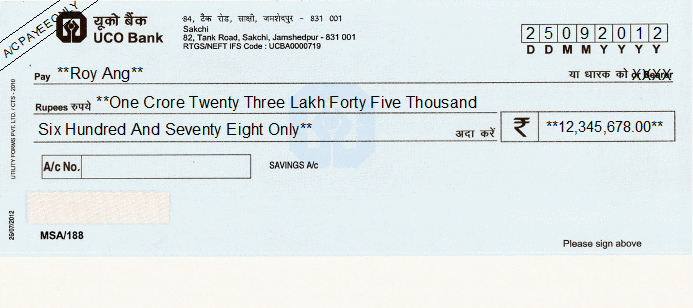 Printed Cheque of UCO Bank India