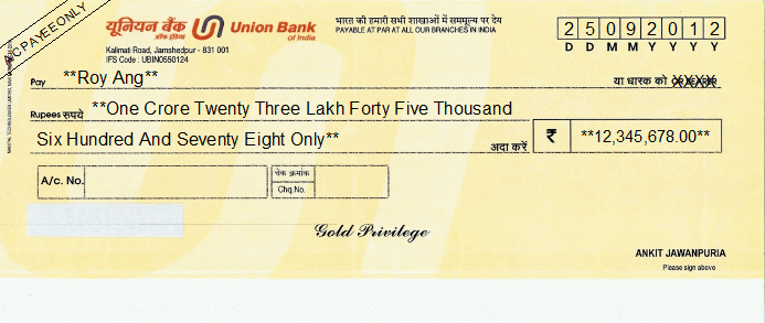 Printed Cheque of Union Bank India