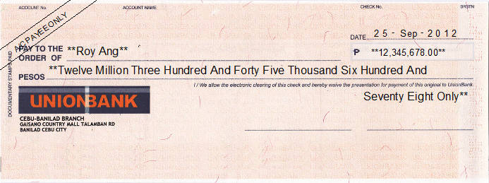 Printed Cheque of Union Bank Philippines