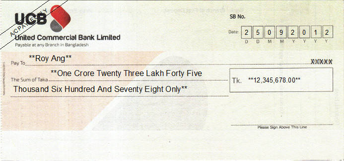 Printed Cheque of United Commercial Bank (UCB) in Bangladesh