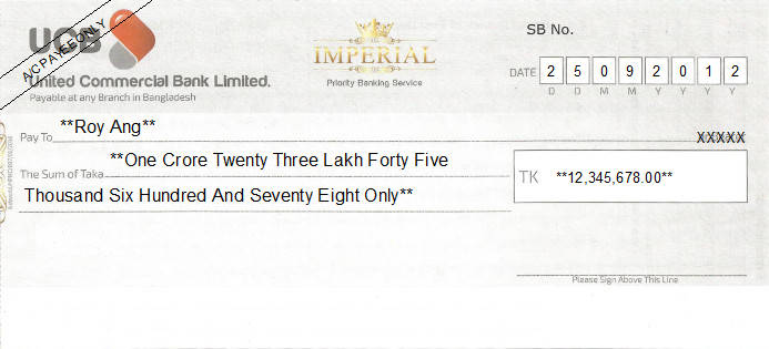 Printed Cheque of United Commercial Bank (UCB) - Imperial in Bangladesh
