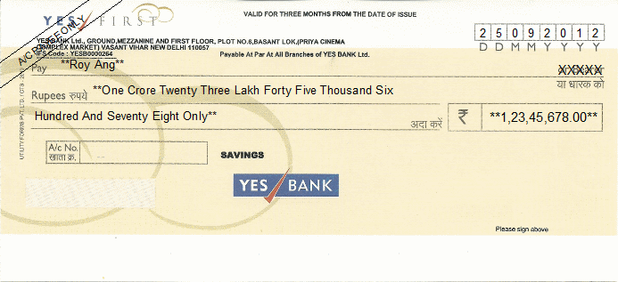 Printed Cheque of Yes Bank India